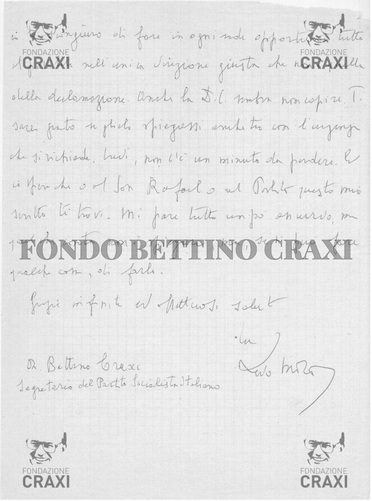Lettera di Aldo Moro a Craxi dalla prigionia